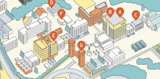 日本文理大学学校案内パンフレット「CAMPUS MAP」イラスト